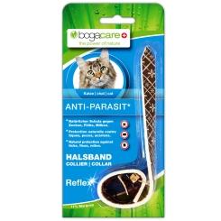 bogacare® Anti-Parasit Vlies-Halsband Style schwarz reflektierend für Katzen