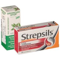 Erkältungsset Strepsils® Orange & Bronchostop® Rachenspray