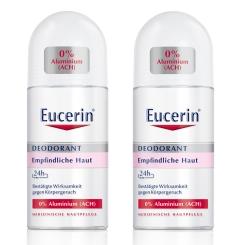 Eucerin® Deodorant Roll-on Empfindliche Haut 24h 0% Aluminium Doppelpack