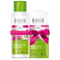 lavera Repair Pflege Bio Rose und pflanzliches Karatin Shampoo + Haarkur