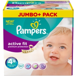 Pampers® Active Fit Gr. 4+ Maxi Plus 9-20 kg Jumbo Plus Pack 62 Stück