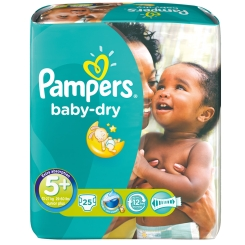 Pampers® baby-dry Gr.5+ Junior Plus 13-27 kg Sparpack