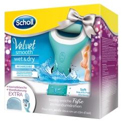 Scholl Velvet Smooth Pedi wet & dry Hornhautentferner + Kosmetiktasche und Wandhalterung