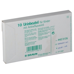 Urinbeutel für Kinder, mit Antirefluxventil und Bodenablaß, unsteril